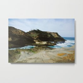 Girl on the Oregon Cliffs Metal Print