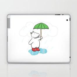 Red Wellies - Rainy day hippo illustration Laptop & iPad Skin