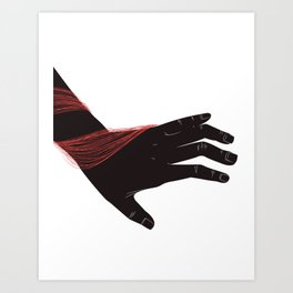 Red thread hand Art Print