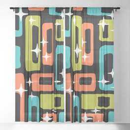 Retro Mid Century Modern Abstract Pattern 222 Orange Chartreuse Turquoise Sheer Curtain