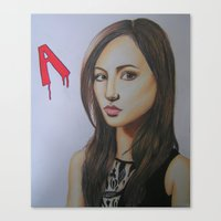 pretty little liars Canvas Prints featuring Spencer Hastings Pretty Little Liars by Sanne Kapelle