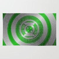 green lantern Area & Throw Rugs featuring Green Lantern Shield Logo by ThreeBoys