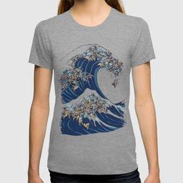 The Great Wave of English Bulldog T-shirt