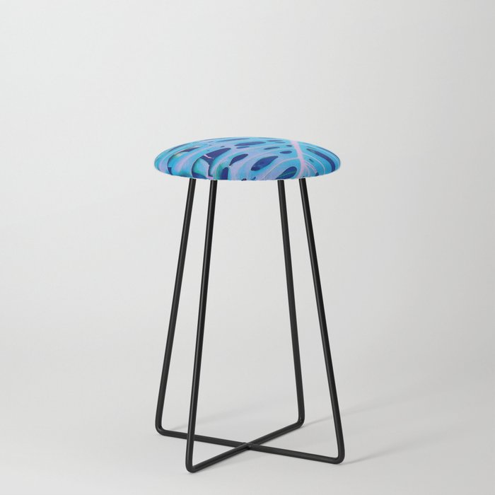 Monstera Blue Counter Stool