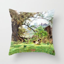 Morning-Old Schofield's Mill - Theodore Clement Steele Throw Pillow