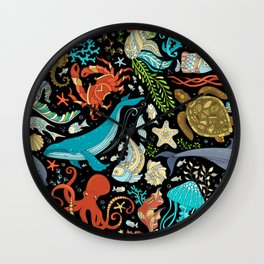 Underwater animals and plants pattern Wall Clock