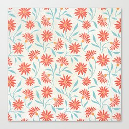 Living Coral Floral Pattern 2 Canvas Print
