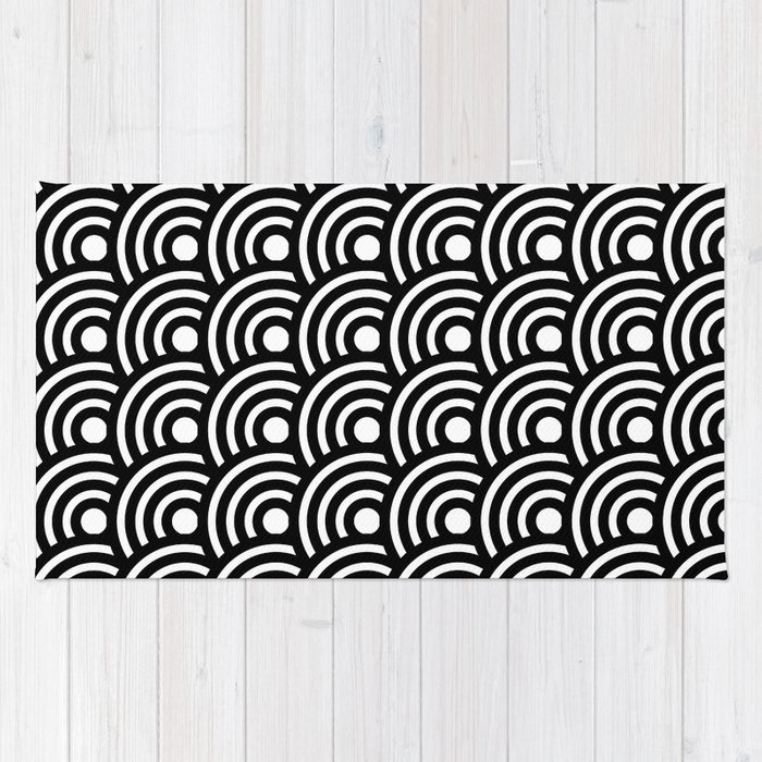 Black And White Geometric Anese Circles Art Deco Print Rug