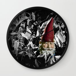 Garden Gnome with Gray background Wall Clock