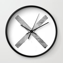 BLACK AND WHITE CROSS Wall Clock