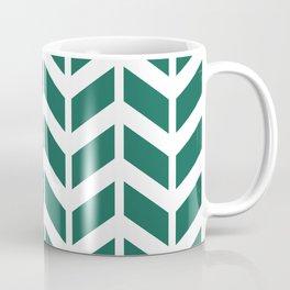 Teal green and white chevron pattern Coffee Mug