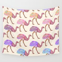 ostrich Wall Tapestries featuring Watercolor Painted Ostrich Pattern by BlackStrawberry