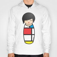 mondrian Hoodies featuring Kokeshi Mondrian by Pendientera