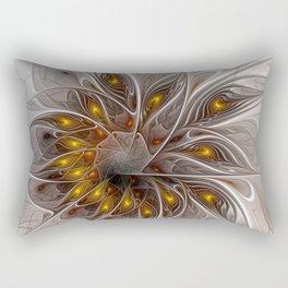 Flair, Abstract Floral Fractal Art Rectangular Pillow