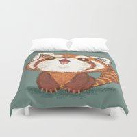 red panda Duvet Covers featuring Red panda by Toru Sanogawa
