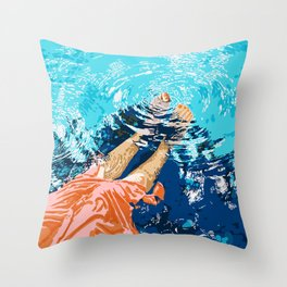 Take Me Where The Waves Kiss My Feet #painting Throw Pillow