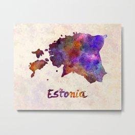 Estonia in watercolor Metal Print