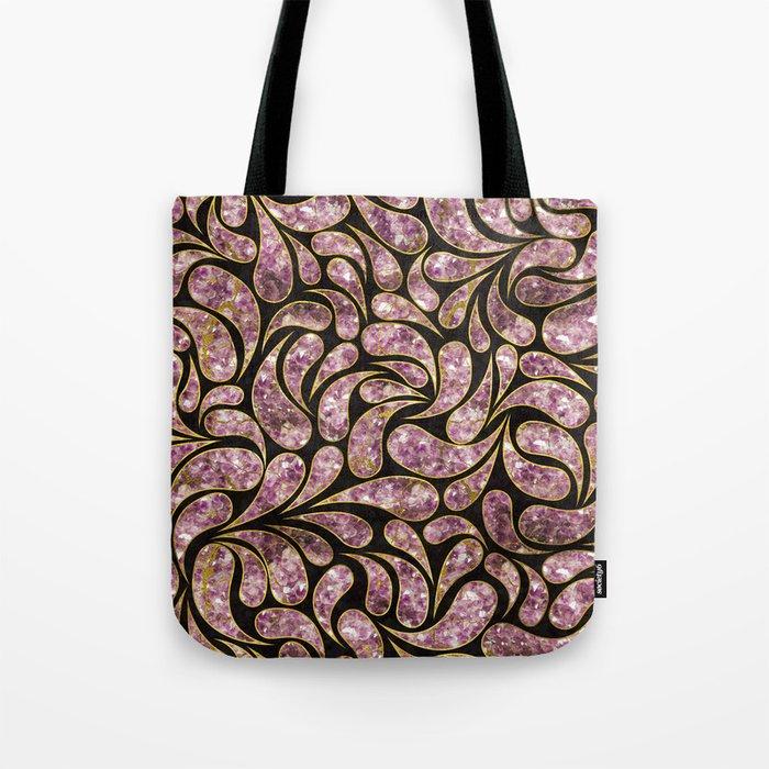 39499f43685 Gold Amethyst Paisley pattern Tote Bag