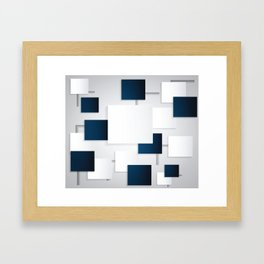 BLACK AND WHITE SQUARES ON A GRAY BACKGROUND Abstract Art Framed Art Print