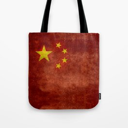 The National flag of the People's Republic of China in Vintage retro distressed texture form Tote Bag