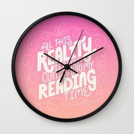 Reality Vs. Reading Pink Orange Wall Clock