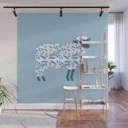 Sheep made of floral pattern Wall Mural
