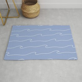 Waves & Lines - Pattern - White & Light Blue Rug
