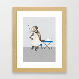 Penguin enjoys coffee Framed Art Print