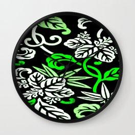 Green Japanese Leaf Pattern Wall Clock
