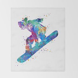 Girl Snowboarding 3 Colorful Watercolor Winter Artwork Throw Blanket