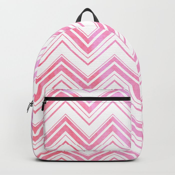Chevron pattern pink watercolor on white #Society6 Backpack