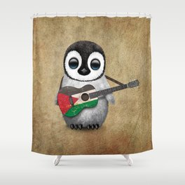 Baby Penguin Playing Palestinian Flag Acoustic Guitar Shower Curtain