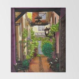 Quiet Green Corner Art in Karlsruhe Germany Throw Blanket