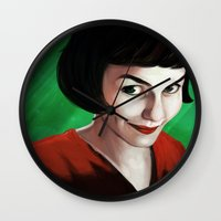 amelie Wall Clocks featuring Amelie by Jon Cain