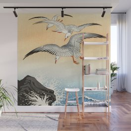 Ohara Koson - Five seagulls above turbulent sea Wall Mural