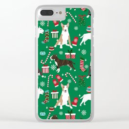 Bull Terrier christmas holiday pet pattern stockings presents dog breed gifts Clear iPhone Case
