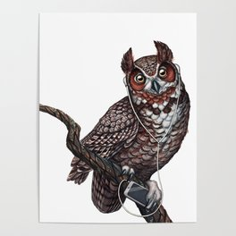 Great Horned Owl with Headphones Poster