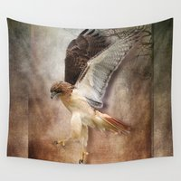 hawk Wall Tapestries featuring Evening Hawk by naturessol
