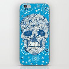Human skull with hand- drawn flowers, butterflies, floral and geometrical patterns iPhone Skin