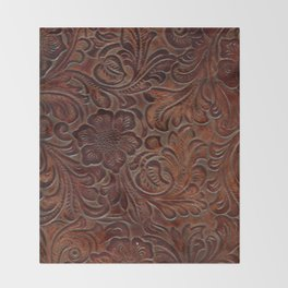 Burnished Rich Brown Tooled Leather Throw Blanket