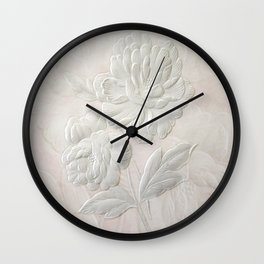 Embossed Painterly White Floral Abstract Wall Clock