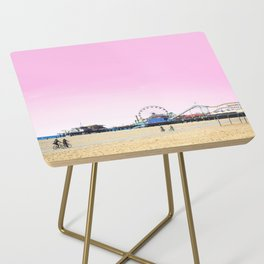 Santa Monica Pier with Ferries Wheel and Roller Coaster Against a Pink Sky Side Table