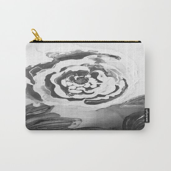 Mother's Day Roses Silver Year Black and White Carry-All Pouch