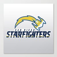nfl Canvas Prints featuring San Diego Starfighters - NFL by Steven Klock