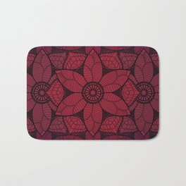 Red flower mandala Bath Mat