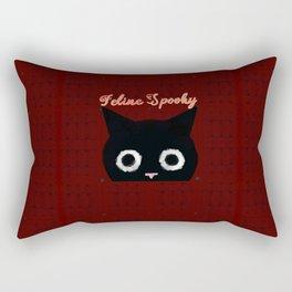 Feline Spooky: Black Halloween Cat Rectangular Pillow