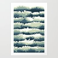 Explosions in the water Art Print