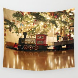 Christmas Tree and Train Wall Tapestry