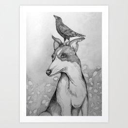 Dog and Crow Art Print