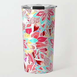 Girly coral pink hand drawn flowers Travel Mug